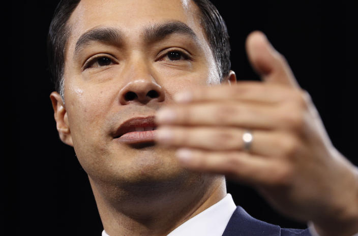 Former Housing and Urban Development Secretary and Democratic presidential candidate Julian Castro speaks at a Service Employees International Union forum on labor issues, Saturday, April 27, 2019, in Las Vegas. (AP Photo/John Locher)