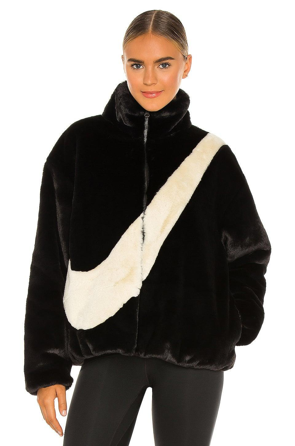 <p>They'll say yes to this <span>Nike NSW Plush Faux Fur Jacket</span> ($175).</p>