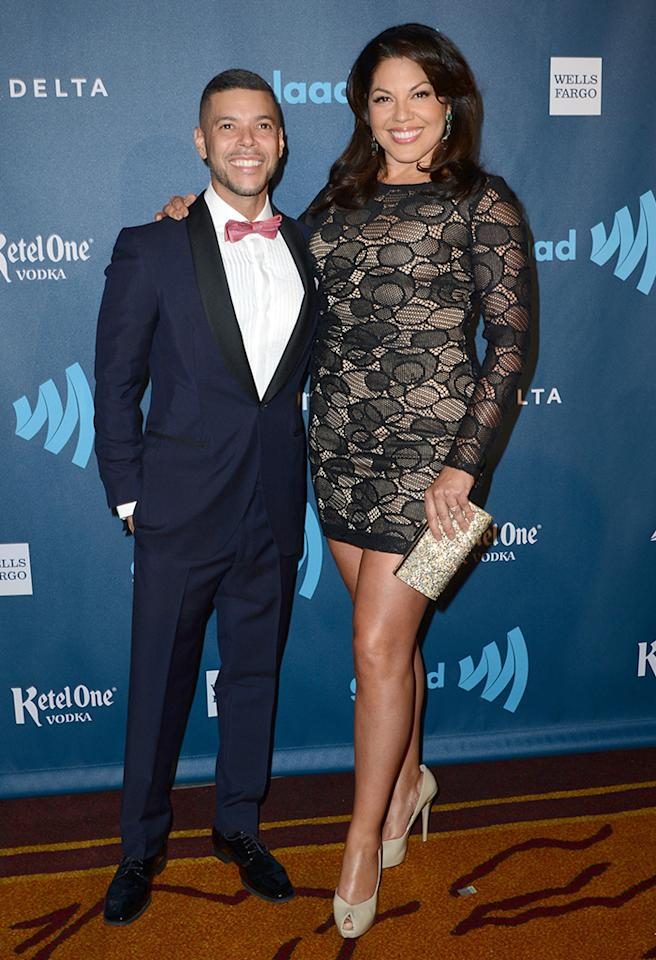 LOS ANGELES, CA - APRIL 20:  Actors Wilson Cruz (L) and Sara Ramirez arrive at the 24th Annual GLAAD Media Awards presented by Ketel One and Wells Fargo at JW Marriott Los Angeles at L.A. LIVE on April 20, 2013 in Los Angeles, California.  (Photo by Earl Gibson III/Getty Images)