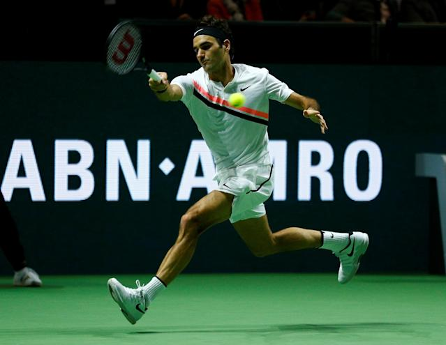 Tennis - ATP 500 - Rotterdam Open - Final - Ahoy, Rotterdam, Netherlands - February 18, 2018 - Roger Federer of Switzerland is seen in action against Grigor Dimitrov of Bulgaria. REUTERS/Michael Kooren
