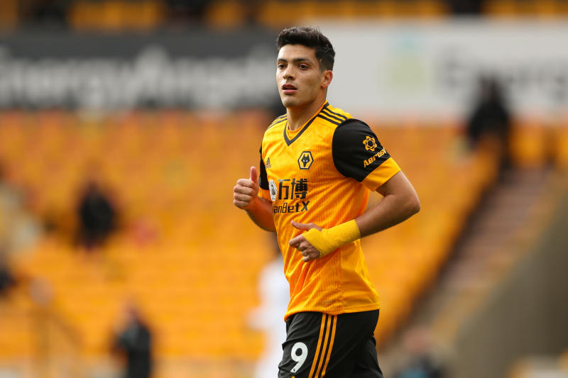 WOLVERHAMPTON, ENGLAND - OCTOBER 04: Raul Jimenez of Wolverhampton Wanderers during the Premier League match between Wolverhampton Wanderers and Fulham at Molineux on October 4, 2020 in Wolverhampton, United Kingdom. Sporting stadiums around the UK remain under strict restrictions due to the Coronavirus Pandemic as Government social distancing laws prohibit fans inside venues resulting in games being played behind closed doors. (Photo by James Williamson - AMA/Getty Images)