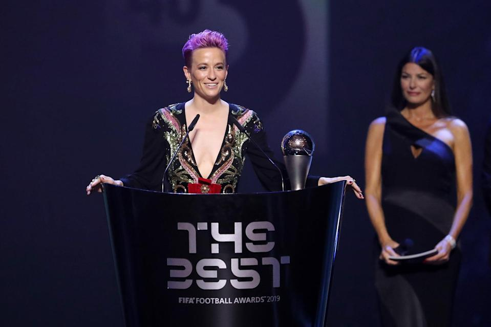 """<p>After leading the USWNT to its fourth World Cup title, Rapinoe was named the Best FIFA Women's Player of the year in 2019. Rapinoe <a href=""""https://www.youtube.com/watch?v=tMoTp_w41gw"""" class=""""link rapid-noclick-resp"""" rel=""""nofollow noopener"""" target=""""_blank"""" data-ylk=""""slk:used her acceptance speech"""">used her acceptance speech</a> to call for an end to racism in soccer, especially directed from fans to players, and to give support to other athletes who faced hatred or rejection because of their sexuality, race, or gender. </p> <p>""""I feel like if we really want to have meaningful change, what I think is most inspiring would be if everybody other than [Black players like] Raheem Sterling and [Kalidou] Koulibaly, if they were as outraged about racism as they were,"""" Rapinoe said. """" If everybody was as outraged about homophobia as the LGBTQ players . . . if everybody was as outraged about equal pay or the lack thereof of the lack of investment in the women's game other than just women. That would be the most inspiring thing to me.""""</p>"""