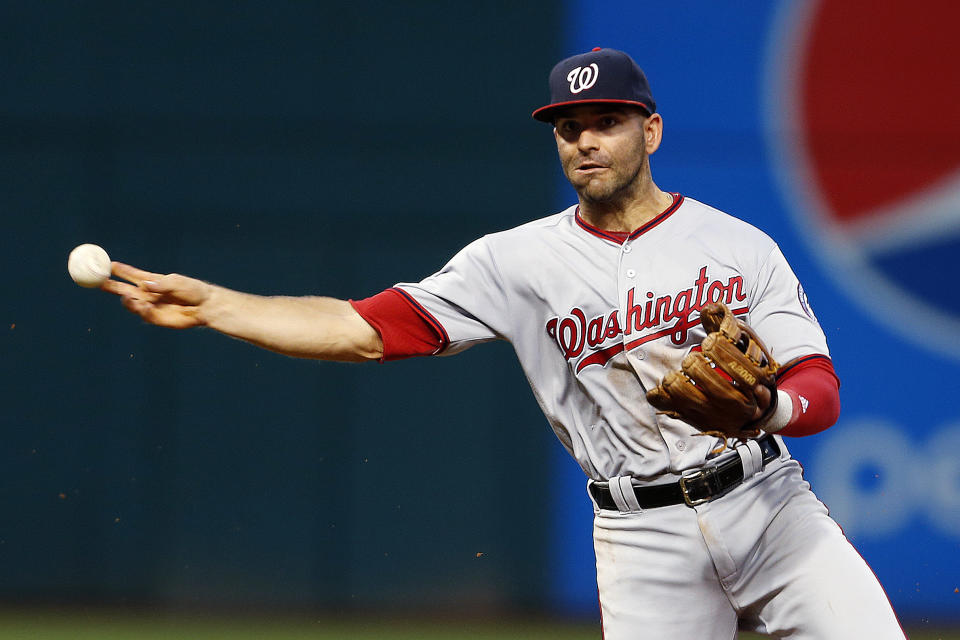 Washington Nationals' Danny Espinosa against the Cleveland Indians during the fifth inning of a baseball game Tuesday, July 26, 2016, in Cleveland. (AP Photo/Ron Schwane)