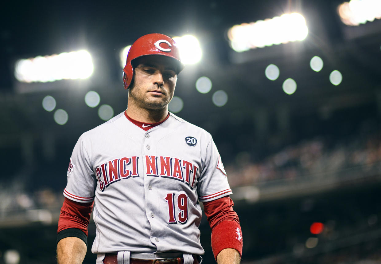 WASHINGTON, DC - AUGUST 12: Cincinnati Reds first baseman Joey Votto (19) stands in the on deck circle in the eighth inning during the game between the Cincinnati Reds and the Washington Nationals on August 12, 2019, at Nationals Park, in Washington D.C.  (Photo by Mark Goldman/Icon Sportswire via Getty Images)