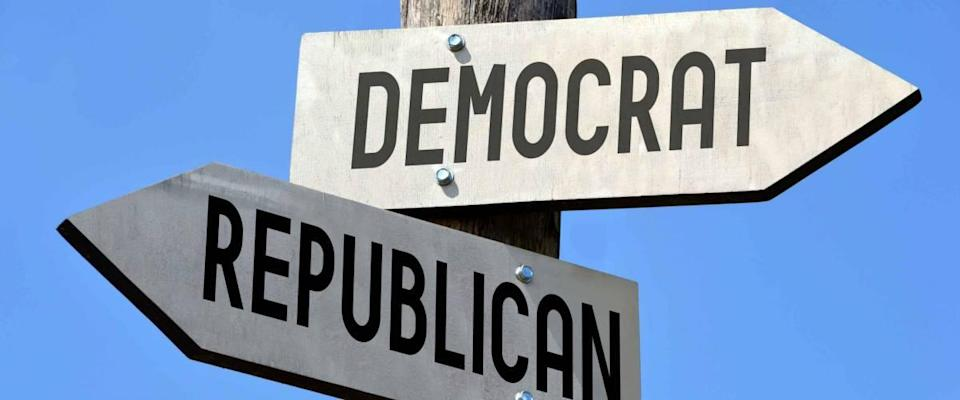 Democrat and republican signpost