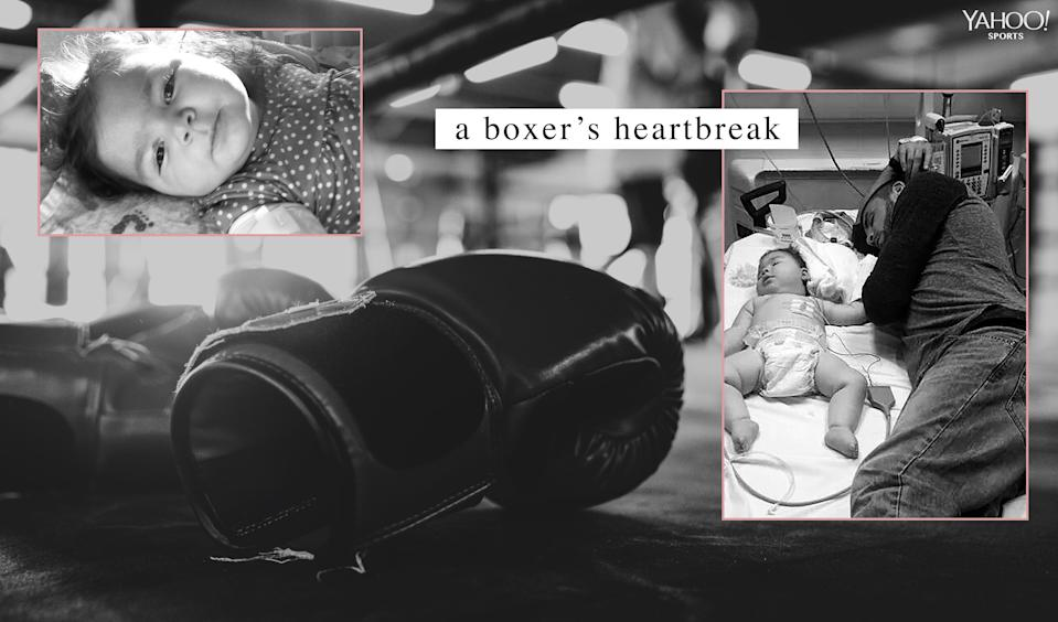 Caleb Plant's daughter, Alia, was born with a brain abnormality and she was plagued by seizures, sometimes several hundred a day, during her life. (Photos courtesy of Caleb Plant and graphic by Amber Matsumoto/Yahoo Sports)