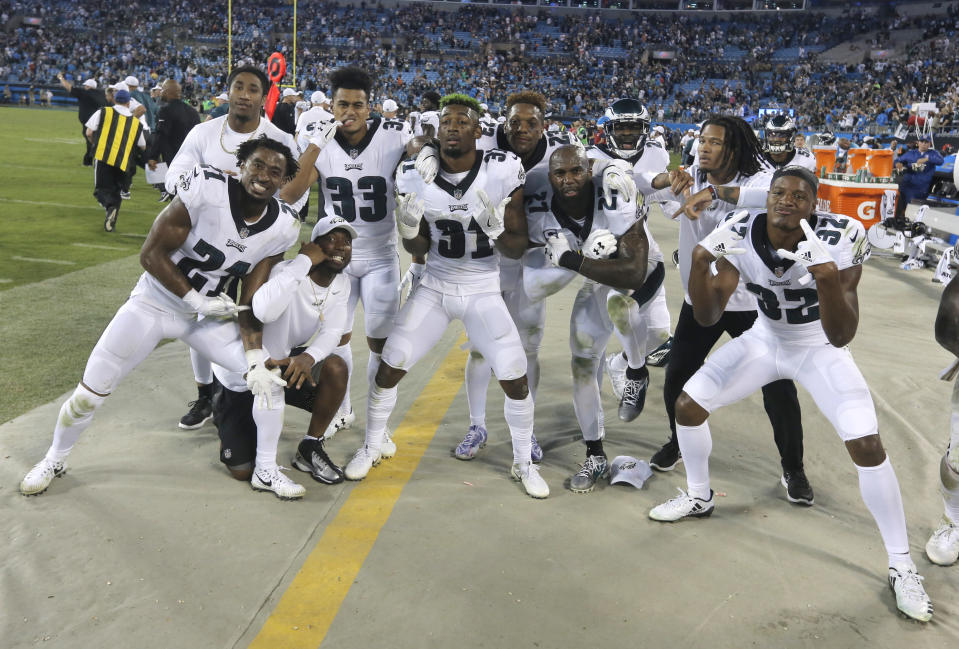 All for one: members of the Philadelphia Eagles defense forged their bond over weekly dinners. (AP)