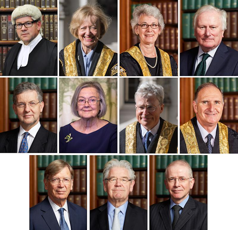The 11 Supreme Court judges: (top row, from left) Lord Sales, Lady Arden, Lady Black, Lord Kerr, (second row, from left) Lord Hodge, Lady Hale, Lord Kitchin, Lord Lloyd-Jones, (bottom row, from left) Lord Carnwath, Lord Wilson, and Lord Reed (Pictures: PA)