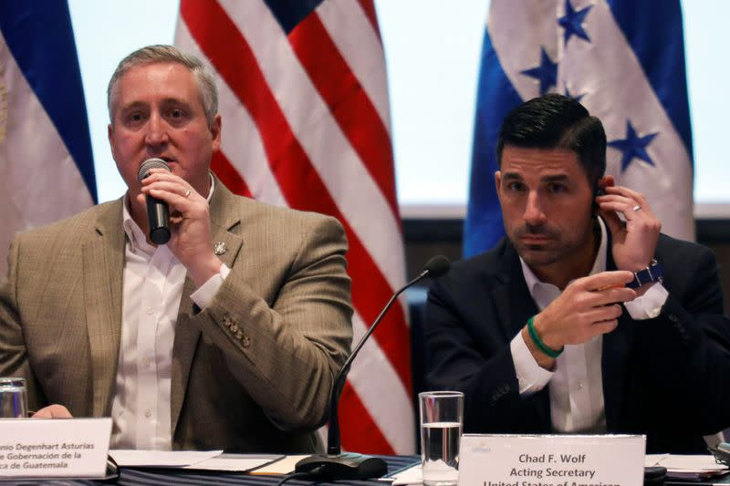 U.S. Department of Homeland Security (DHS) acting Secretary Chad Wolf and Guatemalan Interior Minister Enrique Degenhart hold a news conference in Guatemala City