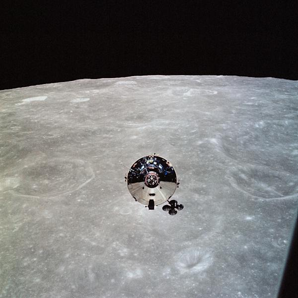 In this May 22, 1969, image obtained from NASA, the Apollo 10 command module is seen from the lunar module (LM) after separation in lunar orbit (AFP Photo/HO)