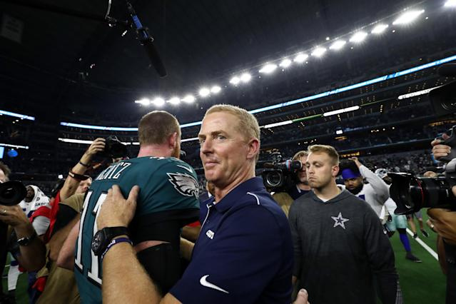 Jason Garrett and the Cowboys got the best of Eagles QB Carson Wentz and the Eagles on Sunday night. (Getty Images)