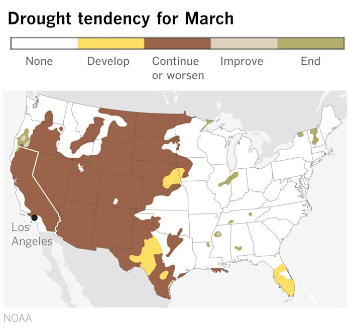 A map of the U.S. shows drought in most of the U.S. expected to continue or worsen