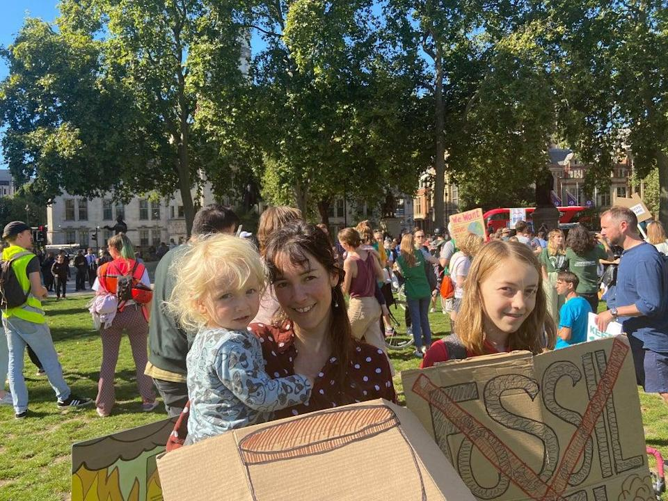 Becky Truscott allowed her daughter May (R) to skip lessons in order to be at the protest (Supplied)
