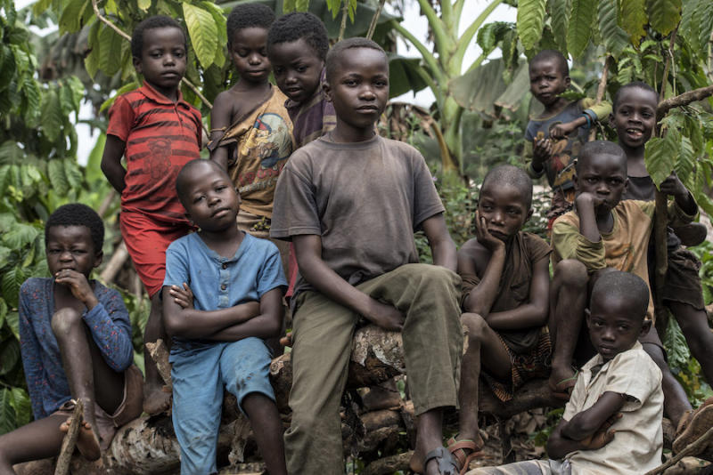 Children pose for a photo outside a rural village in Congo. Monkeypox was traced back to this country in 1970. (Neil Brandvold/DNDi)