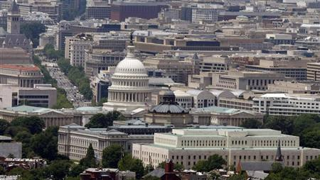 The skyline of Washington DC looking at the U.S. Capitol and Pennsylvania Avenue