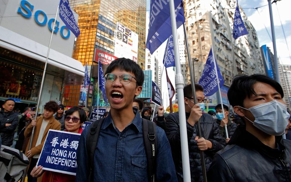 Tony Chung at a 2019 pro-independence demonstration - Kin Cheung/AP