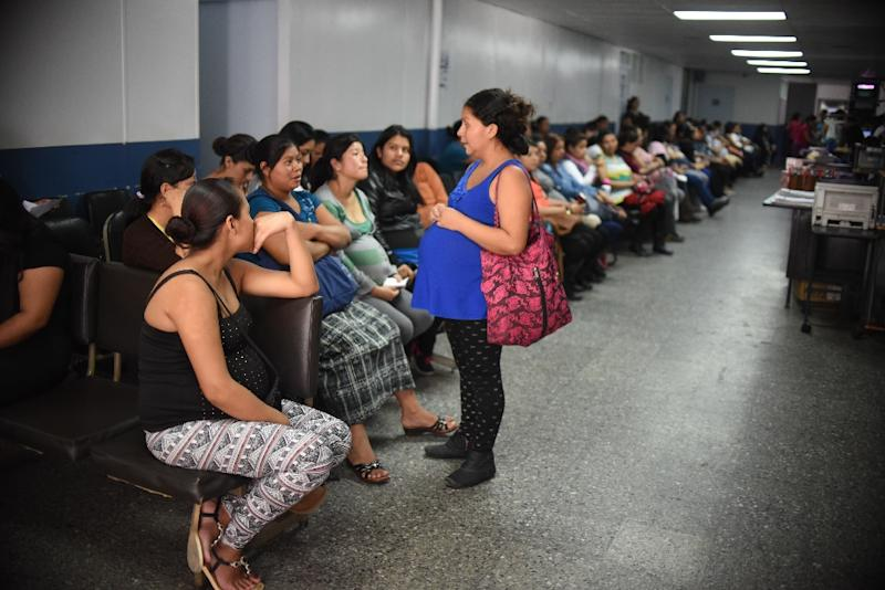 Pregnant women are seen in a maternity ward in Guatemala City on January 26, 2016