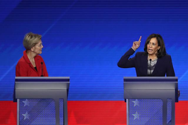 Democratic presidential candidate Sen. Elizabeth Warren (D-MA) looks on as Sen. Kamala Harris (D-CA) speaks during the Democratic Presidential Debate at Texas Southern University's Health and PE Center on September 12, 2019 in Houston, Texas. (Photo by Win McNamee/Getty Images)