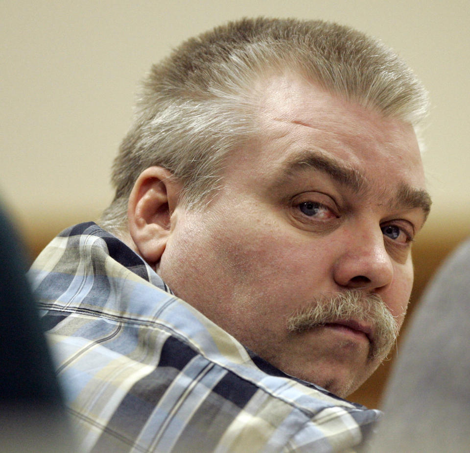 Steven Avery listens to testimony in the courtroom at the Calumet County Courthouse in Chilton, Wisconsin in 2007.