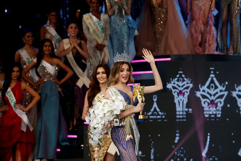 Mexico's Valentina Fluchaire waves after winning crown at the final show of the Miss International Queen 2020 transgender beauty pageant in Pattaya