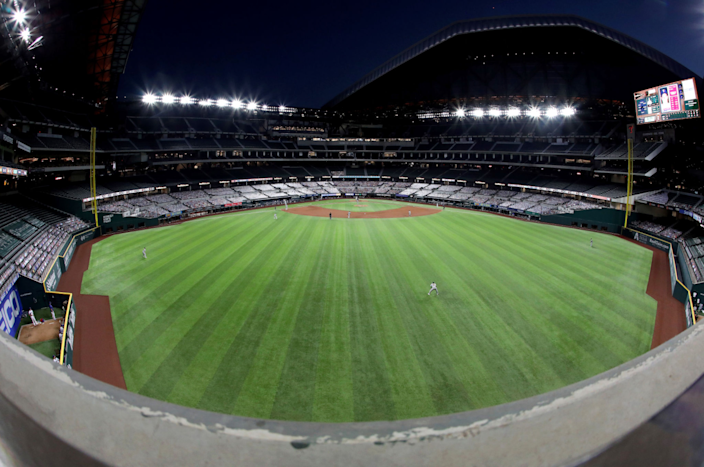 """A general view of play between the Oakland Athletics and the Texas Rangers at Globe Life Field on Sept. 12. <span class=""""copyright"""">(Ronald Martinez / Getty Images)</span>"""