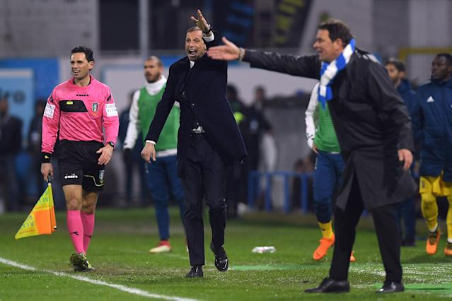 Soccer Football - Serie A - SPAL vs Juventus - Paolo Mazza, Ferrara, Italy - March 17, 2018 Juventus coach Massimiliano Allegri and Spal coach Leonardo Semplici REUTERS/Alberto Lingria
