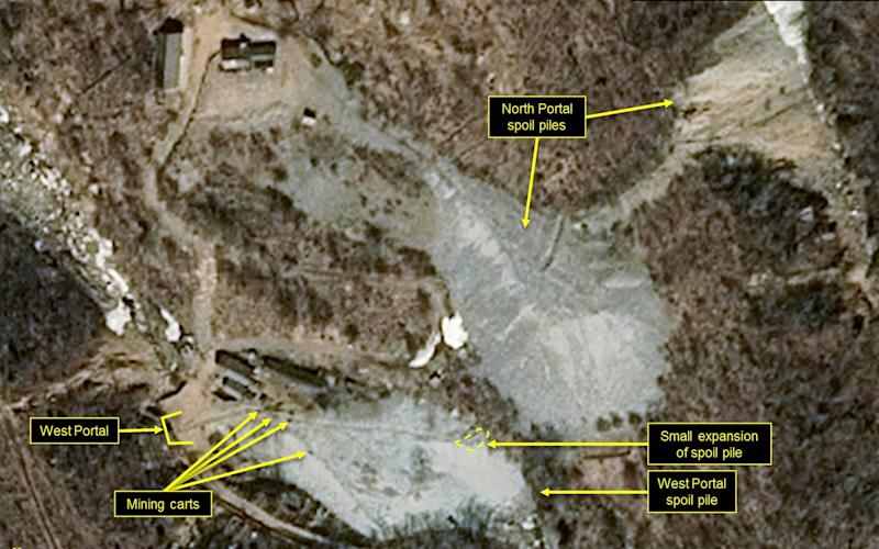 This satellite image released and notated by Airbus Defence & Space and 38 North on March 30, 2018, shows the Punggye-ri nuclear test site in North Korea - Airbus Defense and Space/38 North
