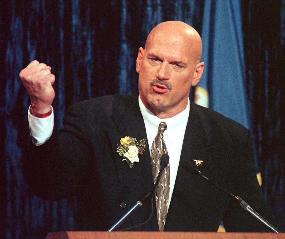 <p>Jesse Ventura made quite the career shift when he went from WWE professional wrestler to politician. His first stint in politics started in 1991, when became the mayor of Brooklyn Park, Minnesota. But, Ventura didn't stop there—in 1999, he was elected Governor of Minnesota as a member of the Reform Party and served until 2003.</p>