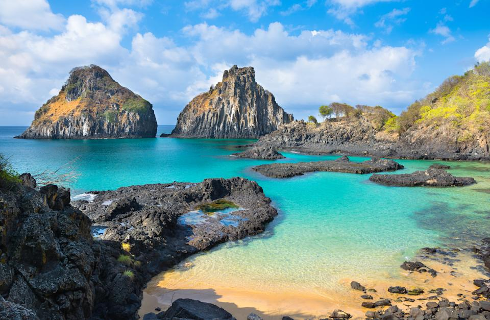 Fernando de Noronha known as the Brazilian paradise is located 350 km from the Brazilian coast, the island is a national marine park and ecological sanctuary. It has the most beautiful set of beaches in Brazil. The island is world famous for its surfing, diving activities and also for its rich and exuberant marine life.