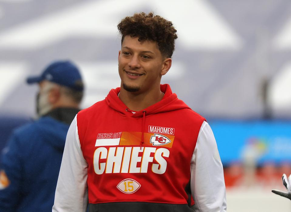 Patrick Mahomes in a Chiefs shirt.