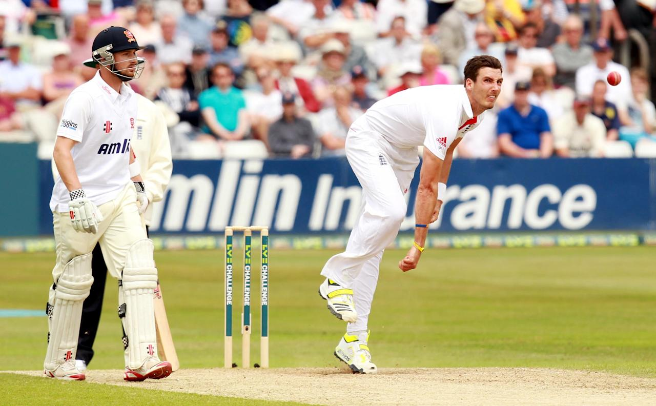 England's Stephen Finn bowling during day two of the International Warm up match at The County Ground, Chelmsford.