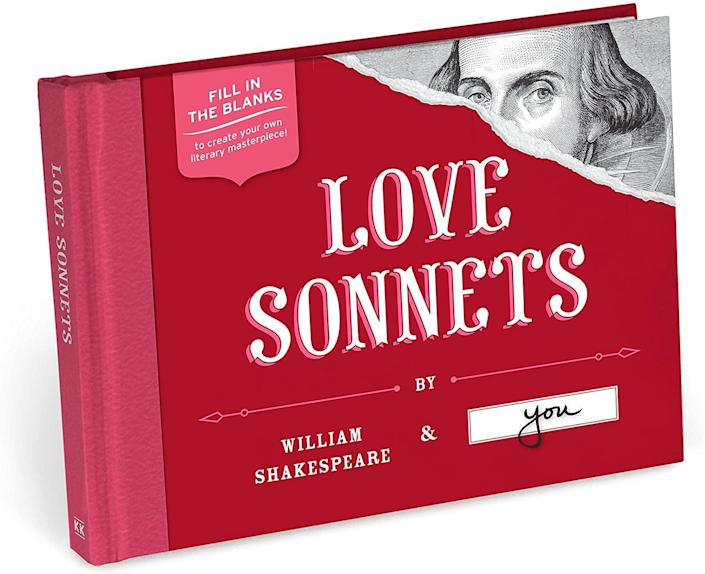<p>Fill in the blanks in Shakespeare's sonnets with your own word choices. </p> <p><span>Love Sonnets</span> ($13)</p>