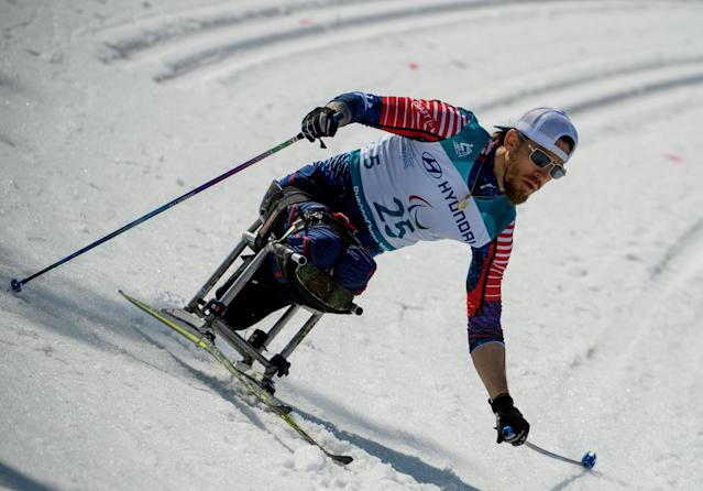 Jeremy Wagner USA competes in the Cross-Country Skiing Sitting Men's 1.1km Sprint at the Alpensia Biathlon Centre. The Paralympic Winter Games, PyeongChang, South Korea, Wednesday 14th March 2018. OIS/IOC/Thomas Lovelock/Handout via REUTERS
