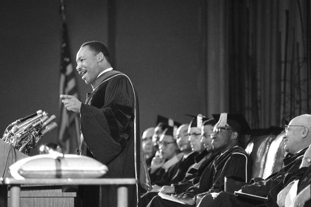 """FILD - In this March 2, 1965 file photo, The Rev. Martin Luther King speaks at a Charter Day ceremony at Howard University in Washington. King discussed his civil rights movement theme, """"We shall overcome."""" According the federal government a historically black college or university is an accredited learning institution started before 1964 that had a primary mission of educating black people. There are about 100 of them in 2018. (AP Photo/Charles Tasnadi)"""