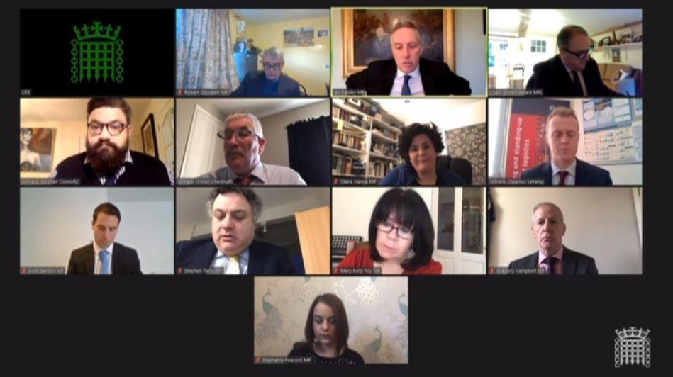 The Northern Ireland Affairs Committee sat virtually on Wednesday.