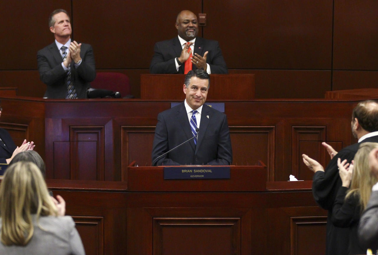 <p> FILE - In this Tuesday, Jan. 17, 2017 file photo, Gov. Brian Sandoval receives a standing ovation at the conclusion of his state of the state address at the Legislative Building in Carson City, Nev. Failure of the Republican bill to overhaul Obama's health care law is welcomed by many governors, primarily in states that had expanded Medicaid. They worried that the changes to the state-federal health care program would have been passed onto their states, forcing them to spend billions more or see thousands of residents dropped from coverage.(Chase Stevens/Las Vegas Review-Journal via AP) </p>