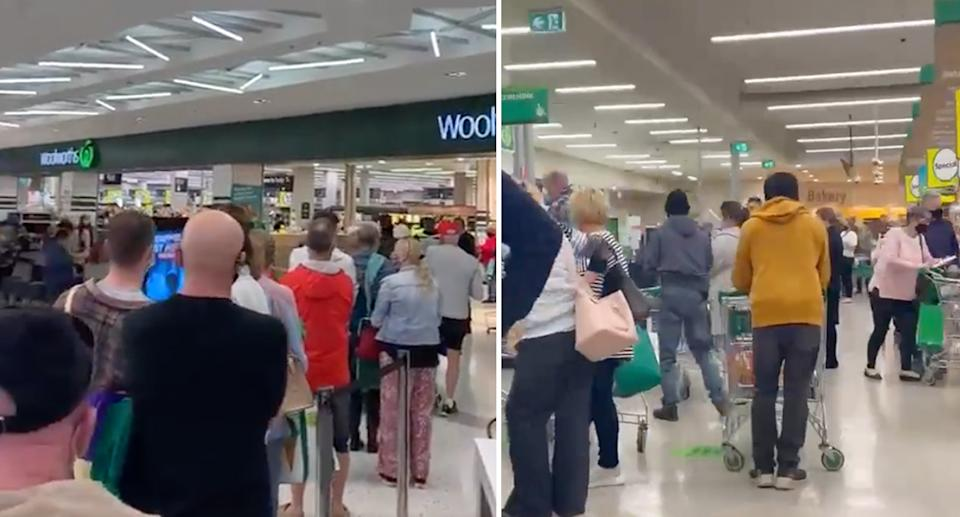 Queues at Woolworths stores at Newcastle Marketown (left) and Muswellbrook (right) after lockdown was announced.. Source: Twitter