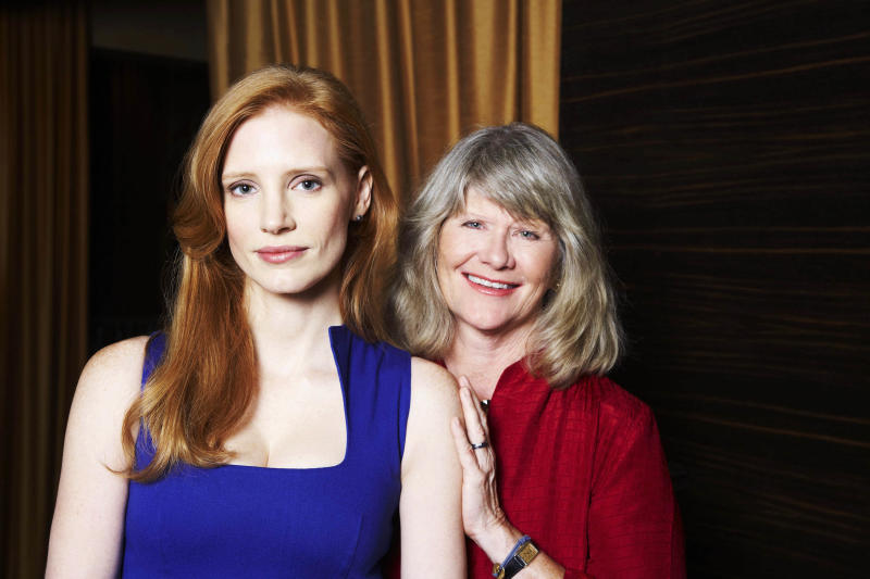 """This Sept. 13, 2012  photo shows Jessica Chastain, left, and Judith Ivey, co-stars of the play """"The Heiress,"""" posing for a portrait at the Empire Hotel in New York. """"The Heiress,"""" based on the Henry James novel """"Washington Square,"""" is the story of a plain woman who is forced to choose between her dismissive father and a charming suitor. (Photo by Dan Hallman/Invision/AP)"""