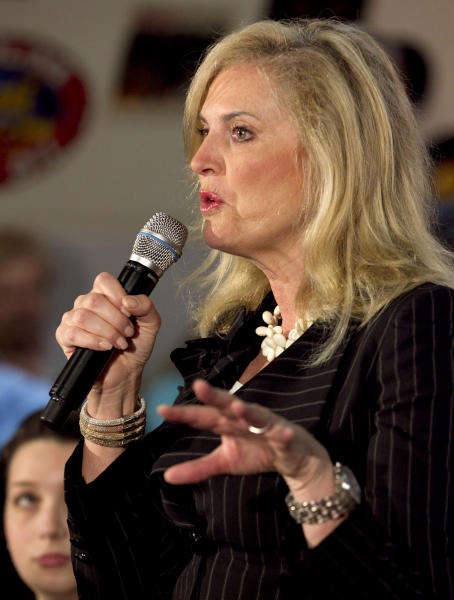 "FILE - In this March 19, 2012 file photo, Ann Romney, wife of Republican presidential candidate, former Massachusetts Gov. Mitt Romney speaks in Springfield, Ill. Ann Romney is firing back at a Democratic consultant who is suggesting that the wife of wealthy presidential candidate Mitt shouldn't be talking about the economy's toll on women. ""Guess what, his wife has actually never worked a day in her life,"" said consultant Hilary Rosen on CNN. The remark inspired Ann Romney's debut on Twitter. (AP Photo/Steven Senne, File)"