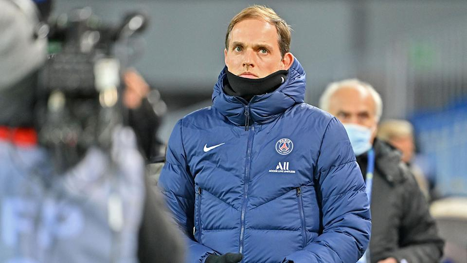 Seen here, former PSG coach Thomas Tuchel looks on in frustration from the sidelines.