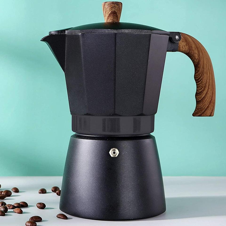 <p>She can make rich, full-bodied coffee right on her stovetop with this <span>Moka Pot</span> ($22).</p>