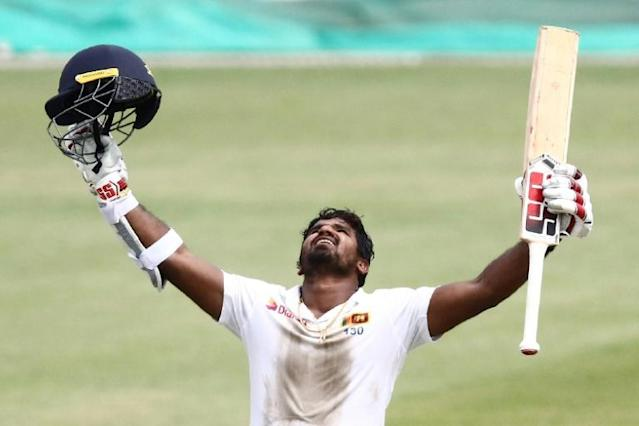 Miracle man: Sri Lanka's Kusal Perera reacts after getting to his 100 in Durban (AFP Photo/Anesh DEBIKY)