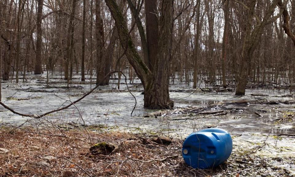 Illegal dumping at the confluence of the Delaware River and Neshaminy Creek in Pennsylvania