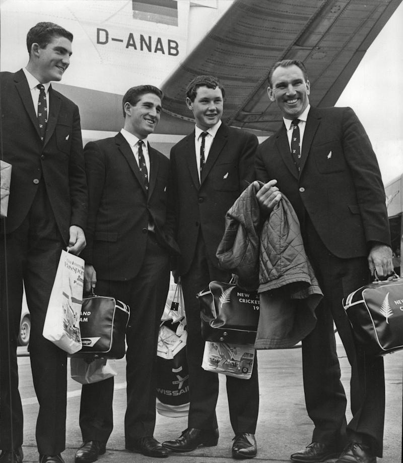 Reid, right, in 1965, his final year in cricket, with his fellow Kiwis, l-r, Richard Collinge, Vic Pollard and Graham Vivian - ANL/Shutterstock