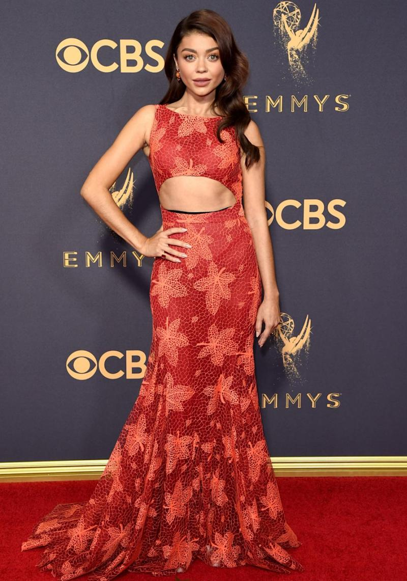 Sarah Hyland's spanx made a sneaky appearance on the Emmys red carpet. Source: Getty