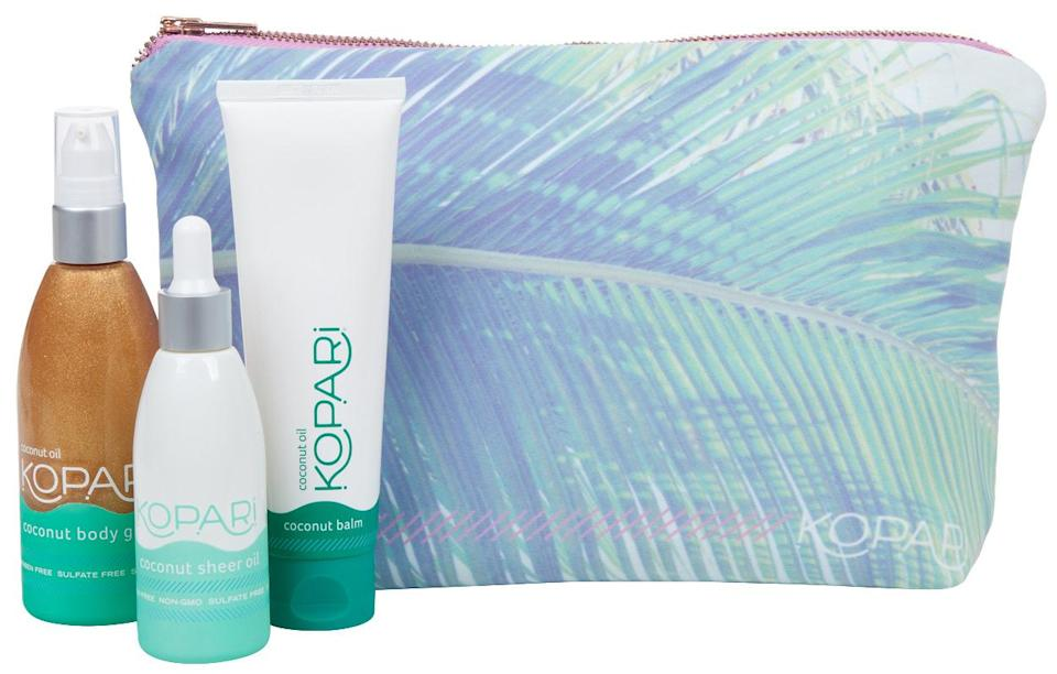"""<p>Coconut oil fans will go wild for this kit from new line Kopari that includes a shimmery Coconut Body Glow oil, a lightweight Coconut Sheer Oil and Coconut Balm. <a href=""""http://www.koparibeauty.com/products/beauty-bag"""" rel=""""nofollow noopener"""" target=""""_blank"""" data-ylk=""""slk:Kopari Gift Set"""" class=""""link rapid-noclick-resp"""">Kopari Gift Set</a> ($100) <br></p>"""