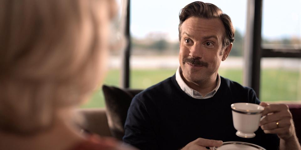 """Jason Sudeikis as Ted Lasso in Season 1 of """"Ted Lasso."""""""