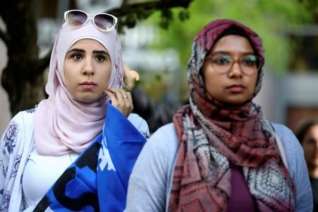 FILE PHOTO: Women protest Quebec's new Bill 21 in Montreal