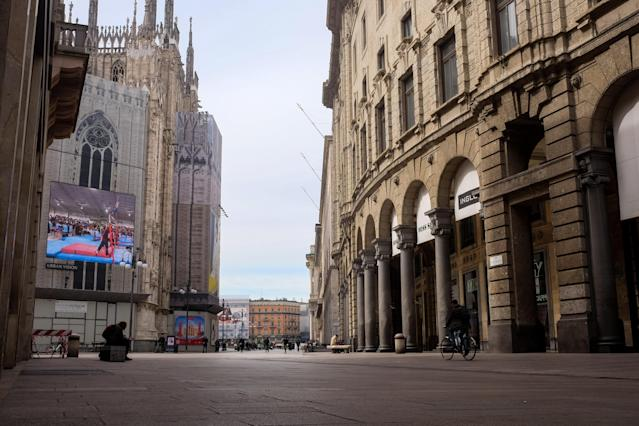 A street behind cathedral Duomo di Milano on the first day of quarantine for Milan, March 9, 2020. (Credit: Mairo Cinquetti/NurPhoto via Getty Images)