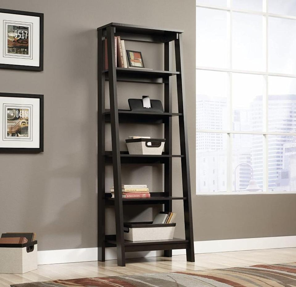<p>The <span>Sauder 5 Shelf Bookcase</span> ($121, originally $135) is a trendy ladder-style shelf. The wide shelves are perfect for storing your favorite books and keepsakes.</p>